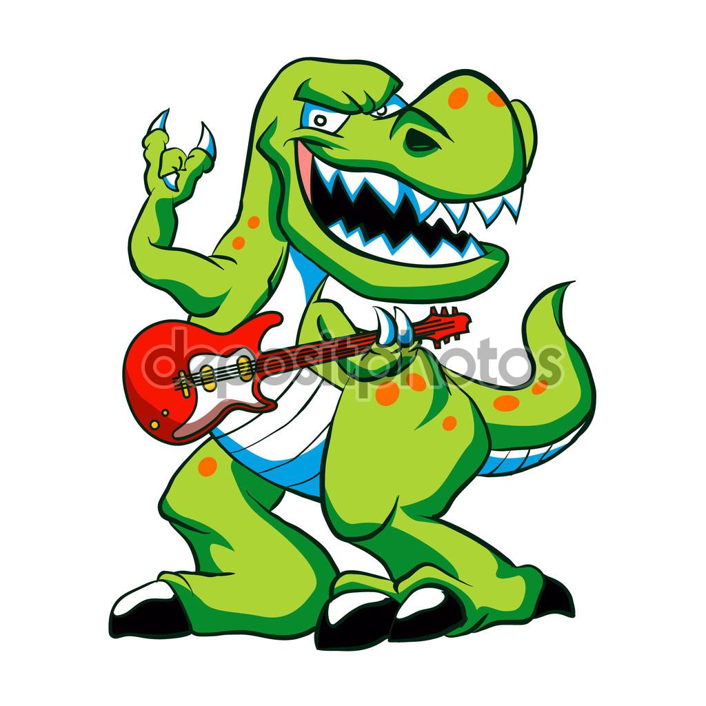 Dino rock plays a guitar.dinosaur cartoon. — Stock Vector.