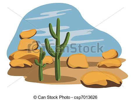 Vector Clipart of Cactus and Desert.