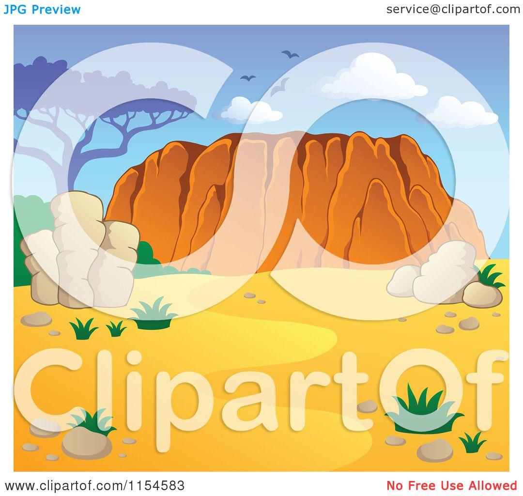 Cartoon of an Australian Landscape with Desert and Ayers Rock.
