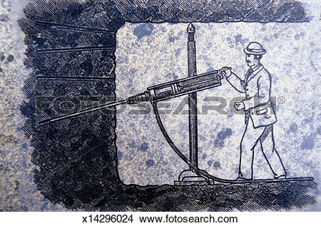 Drawings of 1920`s Style Man Using a Rock Drill. x14296024.