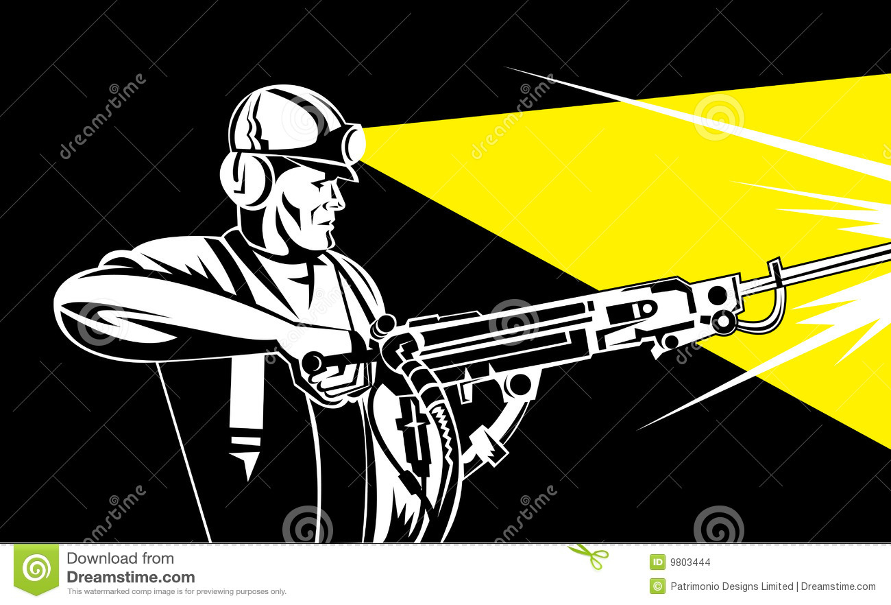 Coal Miner With Rock Drill Stock Images.