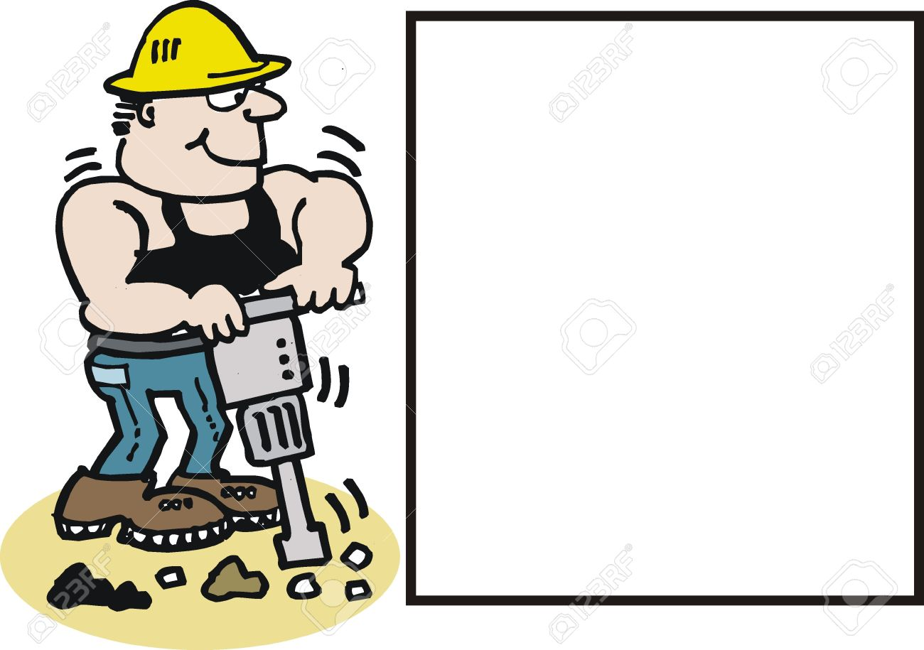Cartoon Of Construction Worker With Drill Royalty Free Cliparts.