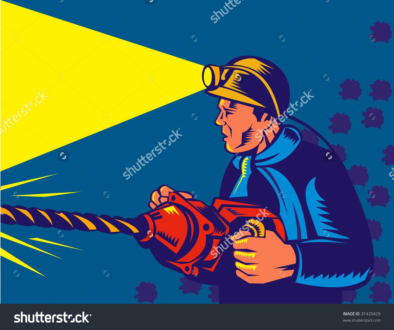 Miner Rock Drill Stock Illustration 31420429.