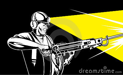 Coal Miner With Rock Drill Royalty Free Stock Photos.