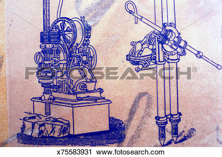 Clipart of Diagram of a Rock Drill x75583931.