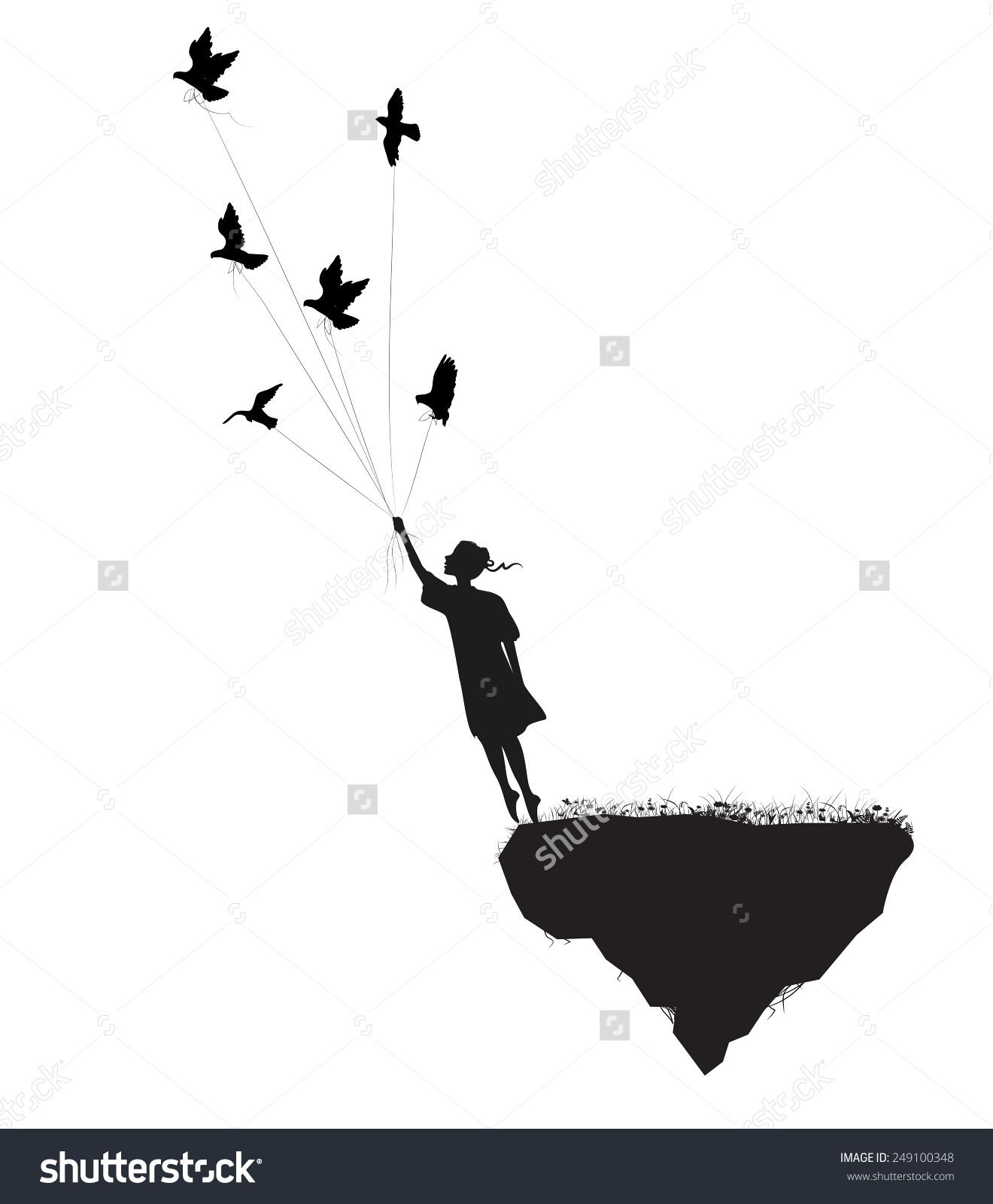 Girl Standing On Edge Flying Rock Stock Vector 249100348.