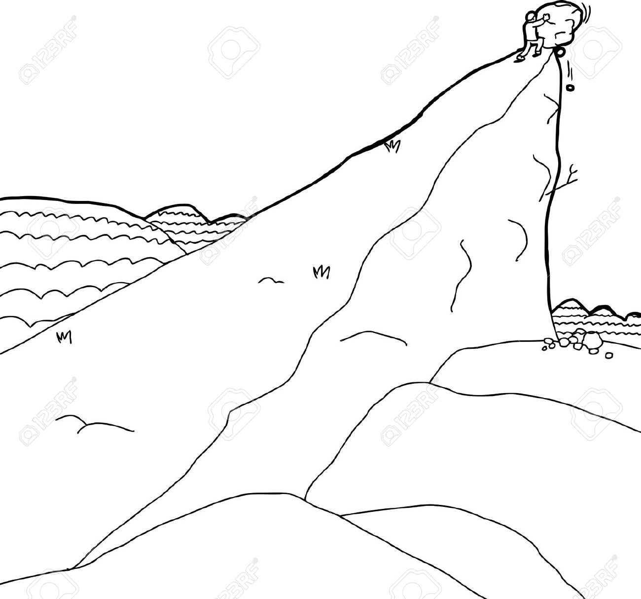 Man pushing a rock clipart.