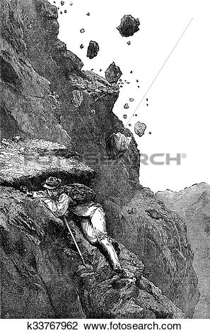 Clip Art of Rock avalanche on the Matterhorn, vintage engraving.