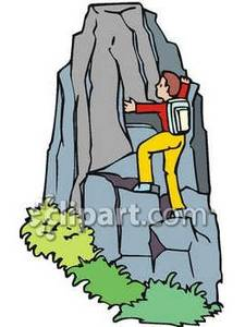 Person Climbing a Rock Face Royalty Free Clipart Picture.