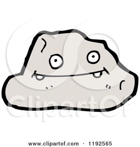 Cartoon of a Rock with a Face.