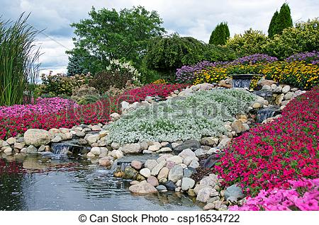 Stock Photo of rock garden with waterfalls.