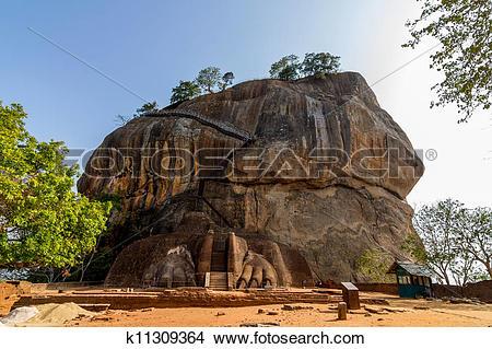Stock Photo of Lion gate entrance facade of Sigiriya rock fortress.