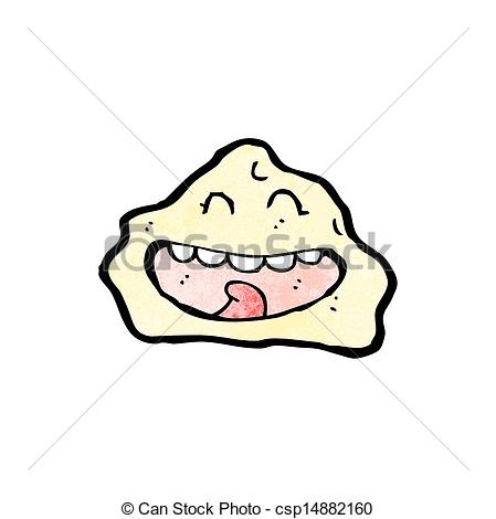 Clip Art Vector of cartoon rock with face csp14882160.