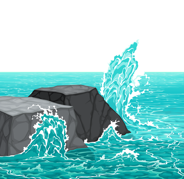 Sea Rocks and Waves PNG Clipart Picture.
