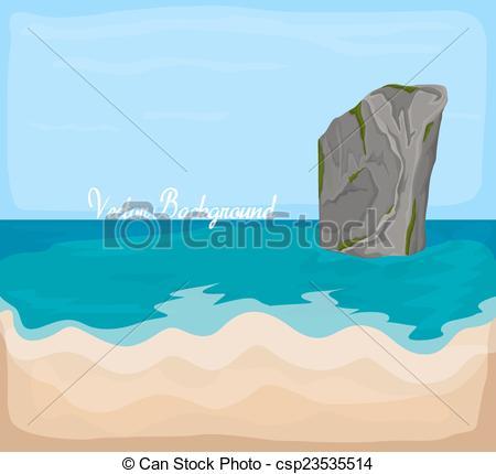 Vector Clip Art of Sea Rock Vector Drawing.