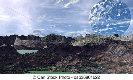 Clip Art of Fantasy alien planet. Rocks and lake. 3D illustration.