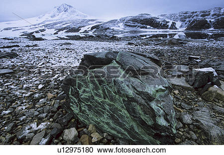 Stock Photography of Copper precipitation on basaltic rock.