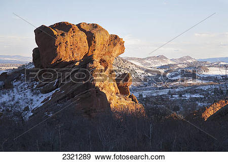 Stock Photograph of Sunlit red rocks near Denver; Colorado, United.