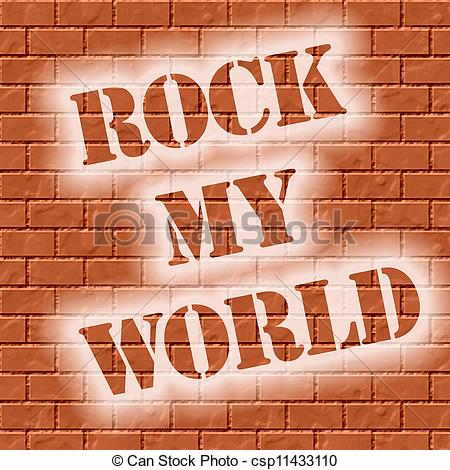 Clipart of rock my world brick wall.