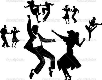 rock and roll dance silhouette pattern.
