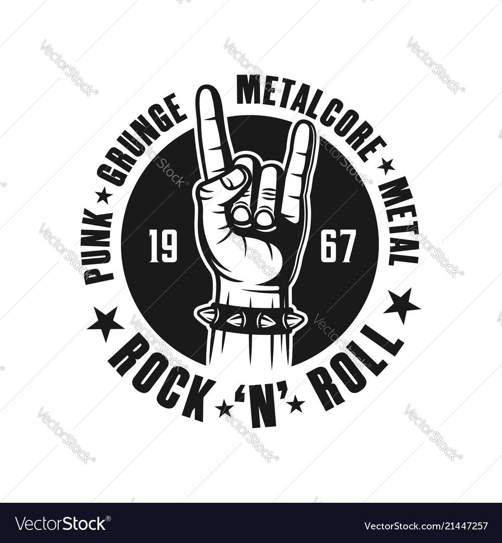 Rock n roll black emblem with hand gesture.