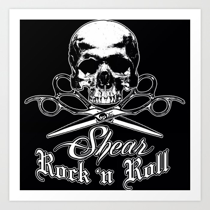 Shear Rock N Roll Studio Skull logo Art Print by chargedminds.