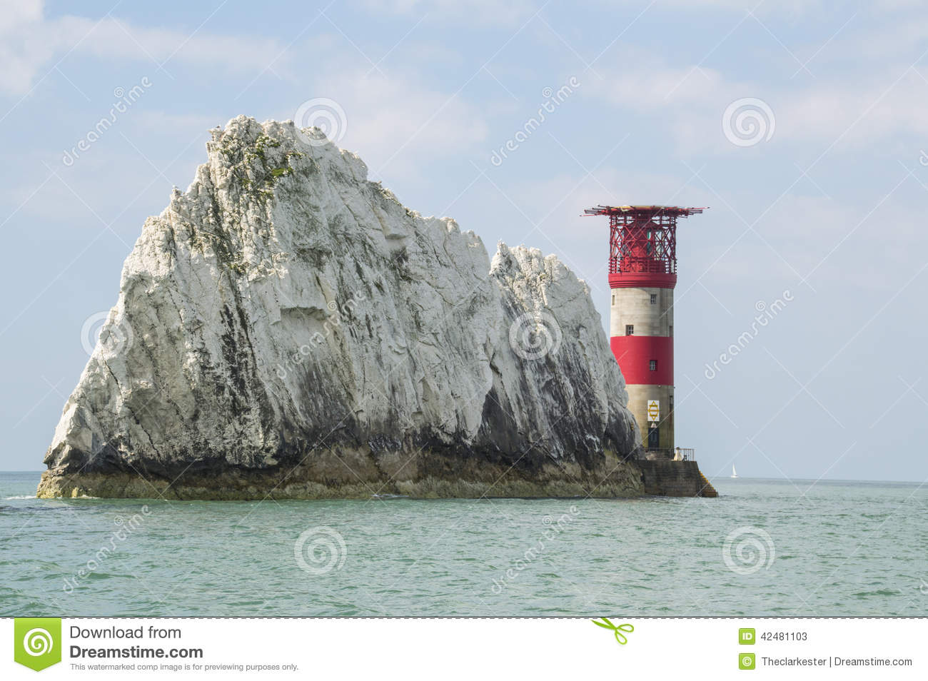 The Needles Lighthouse On The Isle Of Wight Stock Photo.