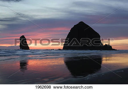 Pictures of Silhouette Of Rock Formations And Haystack Rock At.