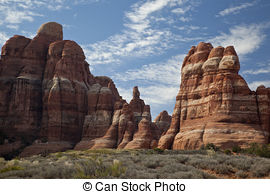 Stock Photography of Needles Rock Formations.