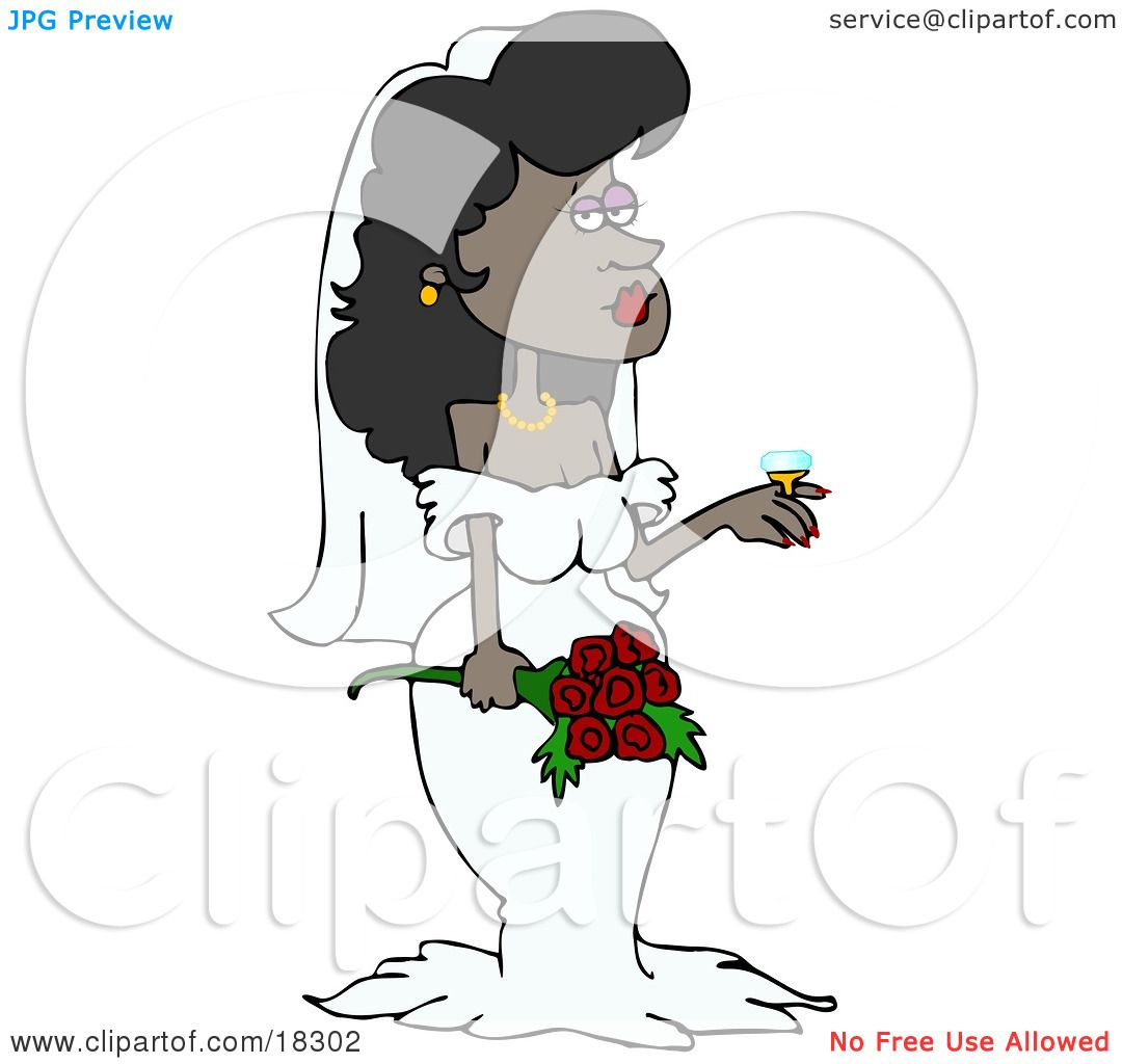 Clipart Illustration of a Stunning Black Bride In Her Wedding.