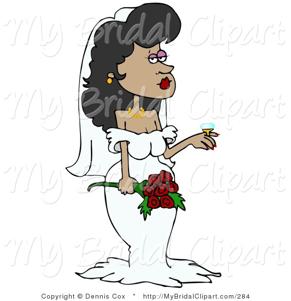 Bridal Clipart of a Stunning Hispanic Bride in Her Wedding Dress.