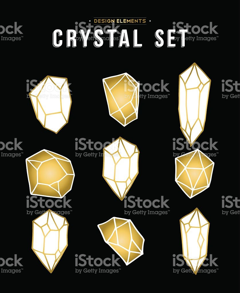 Set Of Gold Color Diamond Rock Elements stock vector art 607486692.