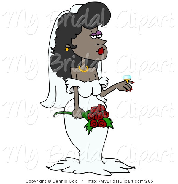 Bridal Clipart of a Stunning African American Bride in Her Wedding.