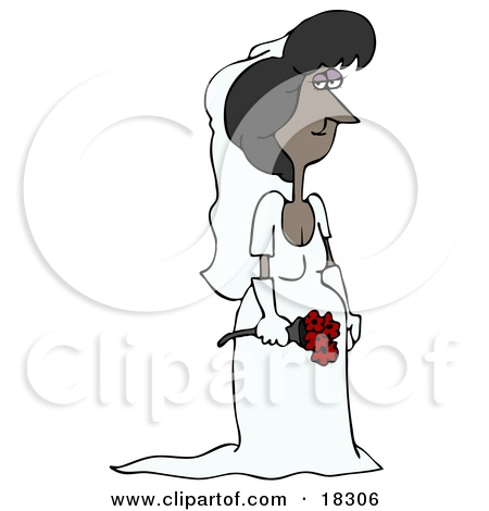 Clipart Illustration of a Stunning Latina Bride In Her Wedding.