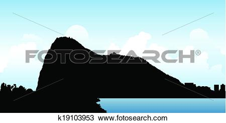 Clipart of Rock of Gibraltar k19103953.