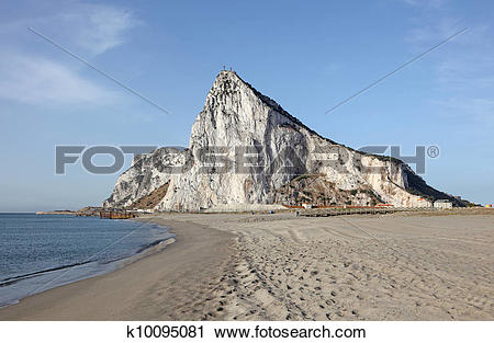 Stock Photography of The Rock of Gibraltar from the beach of La.