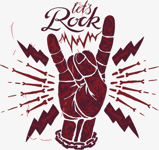 Download Free png Rock Gestures, Rock Vector, Red, Lightning.