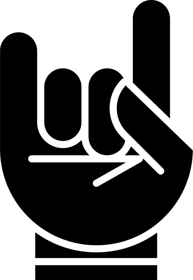 Hand With White Outline Forming A Rock On Symbol Svg Png.