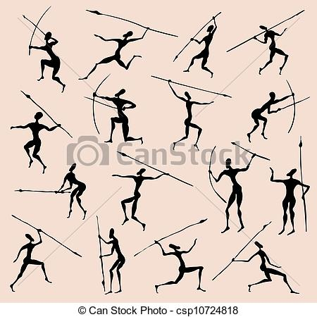 Vector Clip Art of Cave rock painting tribal people silhouettes.