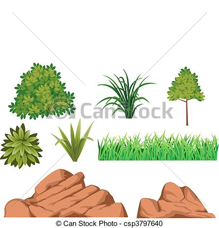 Vector Clipart of Bush and rock.