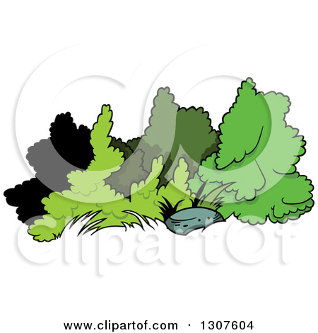 Clipart of a Cartoon Rock and Shrubs.