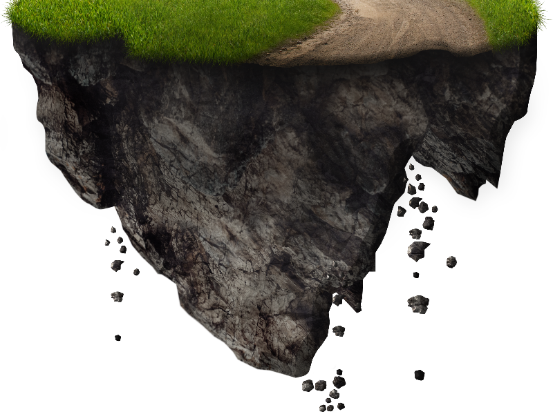 Floating Island With Falling Rocks PNG Free Image (Isolated.