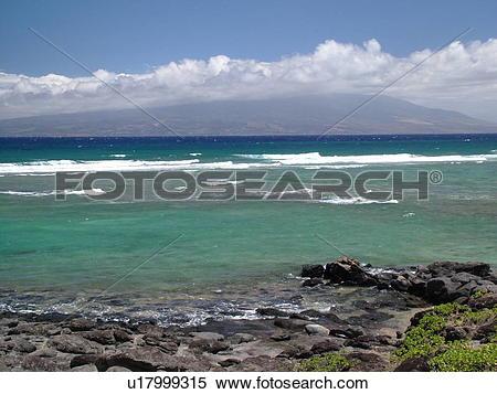 Stock Image of Molokai, HI, Hawaii, East Molokai, Rock Point.