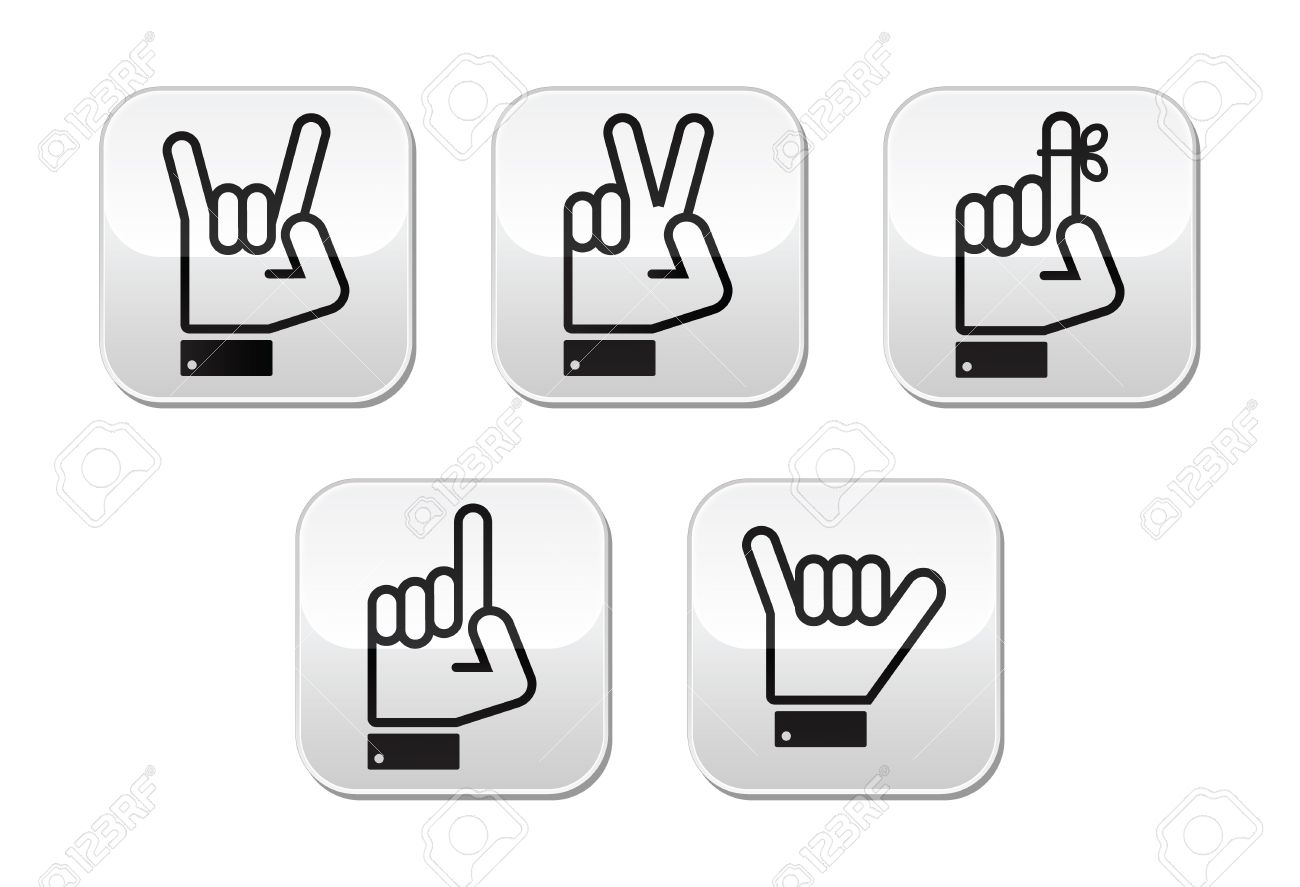 Hand Vector Gestures, Signals And Signs.