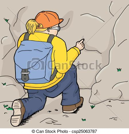 Vector of Female Hiker Points at Rock.