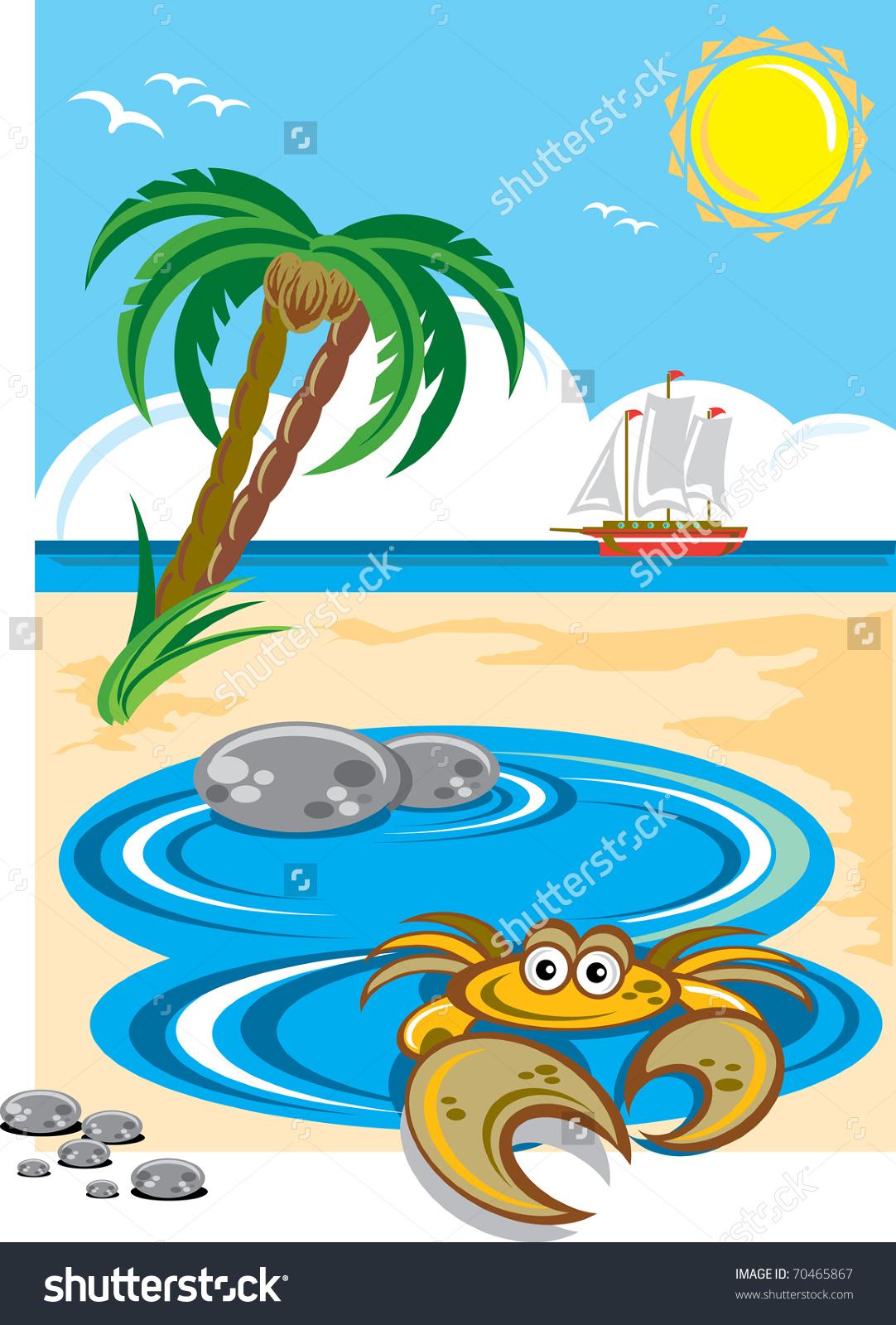 Cartoon Crab Beach Rock Pool Tropical Stock Vector 70465867.