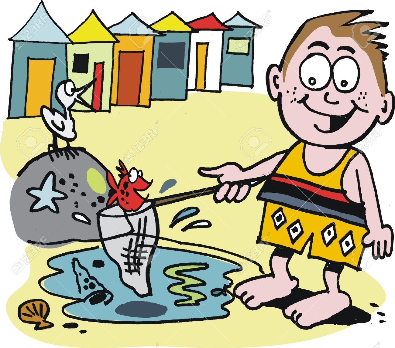 Cartoon Of Small Boy Fishing In Beach Rock Pool Royalty Free.