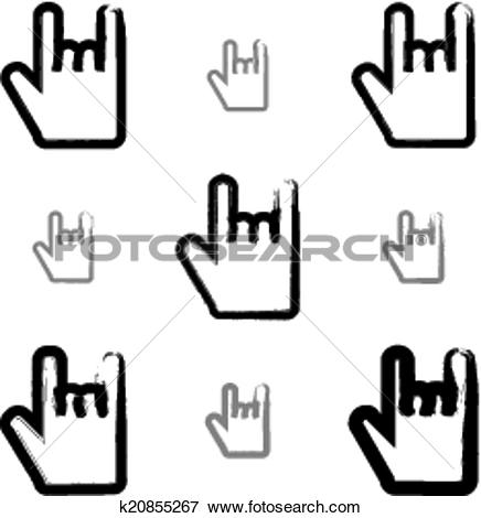 Clip Art of Set of brush drawing simple vector rock on icons, hand.