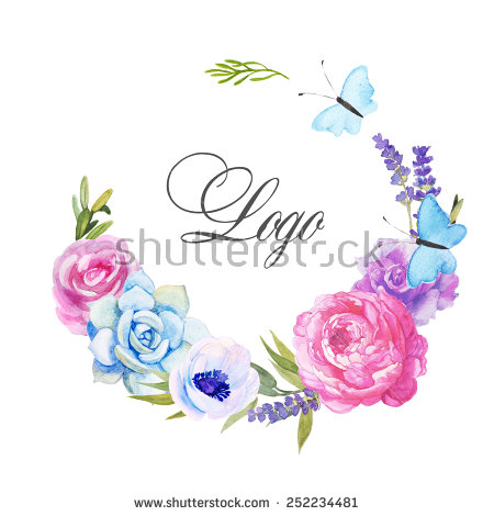 Beautiful Watercolor Logo Roses Anemone Lavender Stock.