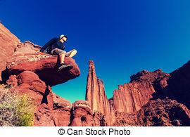 Stock Photos of Climbers on the sheer rock.